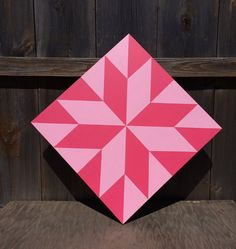 Hand painted rustic barn quilt. 2'x2', LaMoyne star pattern. Pink on pink theme. Indoor/outdoor weather/UV resistant.