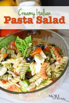 Are you looking for the perfect summer recipe? This Creamy Italian Pasta Salad comes together in just a few minutes and leftovers make a delicious #lunch.