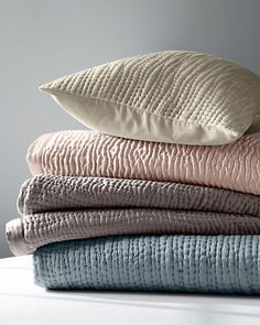Luminous sand-washed silk is quilted into hand-stitched waves of texture, creating our Eileen Fisher Waves Washed Silk Quilt. Silk Blanket, Big Block Quilts, Silk Bedding, Textiles, Cozy Blankets, Cotton Quilts, Soft Furnishings, Home Textile, Eileen Fisher