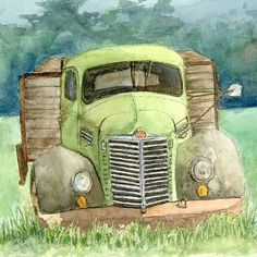 """This is the square format version of """"Moody Green"""" a pen and watercolor painting of an old International KB5 flatbed truck. The square format is good for throw pillows and tote bags which are available with this image.  #davidkingstudio - art, transportation, vehicle, farm, green 1948, '48, vintage, antique, abandoned, derelict, dilapidated, rusty, Wabi, sabi"""