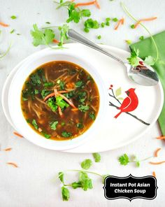Take out your Instant Pot to make this healthy Asian chicken soup spiced with ginger, garlic, and served with fresh cilantro.