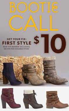 Get your first style for only $10 when you sign up as a JustFab VIP! It's simple: First, take our Style Quiz and be whisked away to your own personalized boutique curated just for you. Then, get your favorite style for as low as $10! As a VIP, you'll enjo