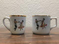 Set Of 2 Vtg Cups/Mugs gold trim Western Square Dancers Rockabilly Midcentury