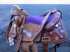 #saddle #western #barrel #pleasure #trail #cowboy #cowgirl #tooled #floral #basket #brown #black #horses #equine #equestrian #western #saddles #horses #barrelsaddles #barrelracing #barrelsaddleforsale #trailsaddles #traisladdleforsale #westernsaddles #westernsaddleforsale #pony #kids #child #youth #mini #purple #rhinestone Barrel Saddles For Sale, Western Saddles For Sale, Western Horse Saddles, Pony Saddle, Cute Ponies, Black Horses, Barrel Racing, Leather Tooling, Pink Purple