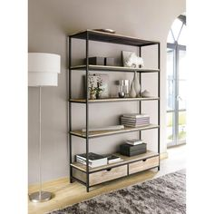 Biblioth que salon on pinterest euro osaka and industrial - Etagere murale maison du monde ...