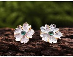 Material - high quality of sterling silver 925 with stamp. Color - yellow gold plated, sterling silver and blue. Flower Stud, Peony Flower, Flowers, Natural Gemstones, Peonies, Dangle Earrings, Studs, Dangles, Christmas Gifts