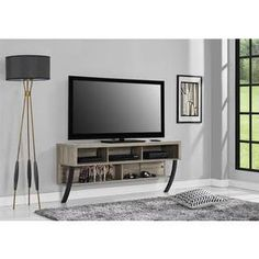 shop for ameriwood home asher sonoma oak wall mounted 65inch tv stand get