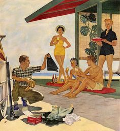 John Falter.    The beach and beer. Suntans and sunburns. Living the American Dream. 1954.