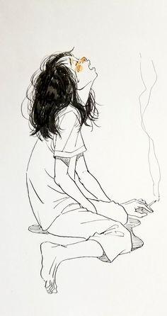 Dark Art Illustrations, Dark Art Drawings, Art Drawings Sketches, Illustration Art, Pretty Art, Cute Art, Cartoon Kunst, Arte Sketchbook, Sad Art