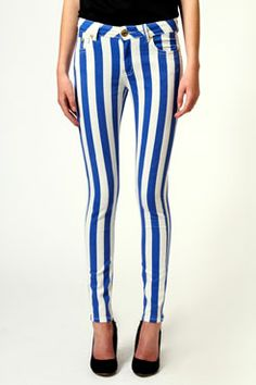Lolita Thick Striped Skinny Jeans at boohoo.com