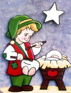 Little Drummer Christmas Nativity Window Painting Pattern