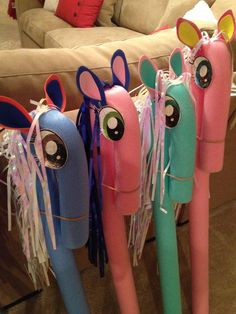 Ponies made out foam noodles, felt, and streamers! #BirthdayExpress #Ponies
