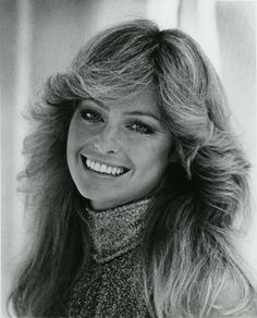 1970s hairstyles - The Farrah Fawcett-Major look. Had to use the tongs for this one