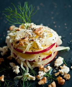 Apple Fennel Salad Recipe - Apples and fennel. A match made in heaven. Combine it with a bright lemon maple vinaigrette and some walnuts and blue crumbles and you have a delicious salad that works for lunch or a first course for company!