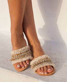 Leather sandals made to order, Laura  Slip on sandals made from genuine leather. Laura sandals are embellished with beige, cream and rose gold trims, fringes, pearls and crystals. It is a luxurious pair of sandals that can be worn as bridal or if you want an extra sparkle to your luxury look. They are so romantic, classy and comfy. Great vibe ! :-)  Everything is handsewn onto the shoes.  sizes available  EU____.....35......36......37......38.......39.......40......41.......42… Fringe Sandals, Cute Sandals, Cute Shoes, Leather Sandals, Shoes Sandals, Slide Sandals, Pom Pom Sandals, Bridal Sandals, Wedding Shoes