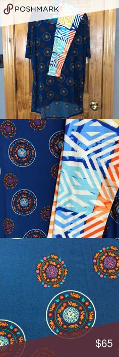 Lularoe bundle Lularoe Irma with a dark blue background and orange, dark red, pale yellow, green, dark pink circle design, paired with TC leggings with cream, orange, yellow, dark blue, light blue, peach print. New with tags LuLaRoe Other