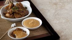 This chicken satay recipe from Andrew Rudd, executive chef and owner at Medley, is perfect for entertaining. Christmas Canapes, Christmas Recipes, Peanut Sauce, Peanut Butter, Satay Recipe, Chicken Satay, Executive Chef, Fish Sauce, Lemon Grass