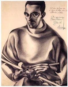 Auto retrato c/ prancheta 1926  Lápis sobre papel 34x27 cm  José de Almada Negreiros (1873 - 1970 )