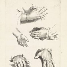 Studies van handen, Paulus Pontius, naar Peter Paul Rubens, 1616 - 1657