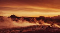 Landed on Mars.   Midnight sun in the summer solstice at Námafjall, a high-temperature geothermal area in the North of Iceland. It's not a surprise that Nasa and ESA makes here research and testing for missions on Mars!