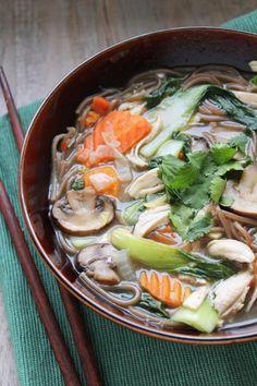 Chicken Soba Noodle Soup. #healthy #noms