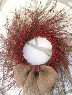 Festive wreath. Can see using our own clan's tartan ribbon to make it personal.