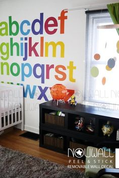 Rainbow Alphabets wall decal for minimalist nursery, be amazed on how the bold but not overly done design will change your wall.   [ITEM NO. L020]