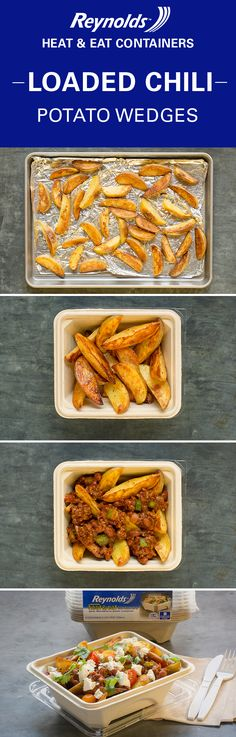 Spice up your chili leftovers with our delicious Loaded Chili Potato Wedges recipe! Then pack it all up in a Reynolds Disposable Heat & Eat container for a warm, cheesy lunch at work tomorrow. It's made from plant fibers, so it's perfect for the microwave and is a great alternative to plastic. Plus, there's no cleanup when you're done!