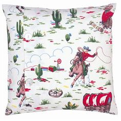 Think this Cath Kidston cushion cover is really smart Cowboy Bedroom, Cowboy Nursery, Baby Bedroom, Cowboys And Indians, Colourful Cushions, Granny Chic, Cath Kidston, Kids Bags, Printing On Fabric
