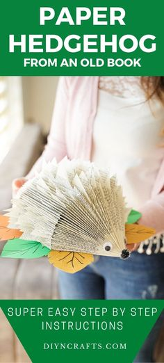 Turn an old book into this adorable paper hedgehog craft! This is a great decoration for a baby shower or a kids room and a fast craft to make! Old book page paper animal crafts are an excellent way to decorate and have fun crafting with kids! #PaperHedgehog #Hedgehog #PaperCraft #OldBookPage #BabyShower #BabyRoom #Nursery Paper Animal Crafts, Paper Animals, Paper Crafts, Folded Book Art, Book Folding, Paper Book, Paper Art, Crafts To Make, Fun Crafts