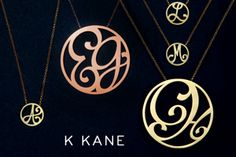 Scroll-like monogram jewelry by Katherine Kane