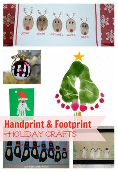 Holiday Crafts that use Fingerprints and Footprints. Cute ideas for kids! This roundup includes some of the cutest holiday crafts with fingerprints and footprints. Great craft activities for kids Christmas. Holiday Crafts For Kids, Christmas Activities, Xmas Crafts, Baby Crafts, Craft Activities, Holiday Fun, Christmas Projects, Christmas Holidays, Christmas Gifts