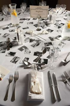20's wedding ideas | ... & White Polaroid Photos Scattered on the ... | 20's Vinatge Wed