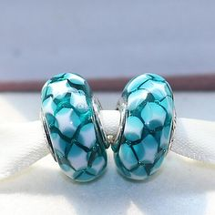 2016 925 Sterling Silver Loose Bead Teal Lattice Murano Glass Charm Bead Fit European Jewelry Bracelet Necklaces & Pendants From Vivipandora, $25.01 | Dhgate.Com