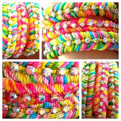 Neon rainbow candies, handwoven diamante friendship bracelets embellished with rhinestone chain. $27.50, via Etsy.