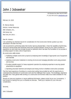Free Construction Worker Cover Letter Sample