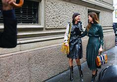 Giovanna and Sara Battaglia in Salvatore Ferragamo, with a Sara Battaglia bag