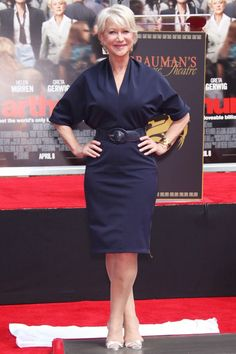 Helen Mirren Style ~ Looking chic in a Lanvin design. Belted, batwing, Navy dress. Fab!