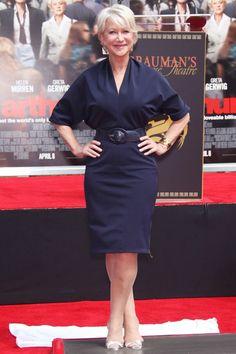 Helen Mirren Style ~ Looking chic in a Lanvin design. Belted, batwing, Navy dress. Fab!