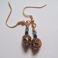 Copper rose skull earrings