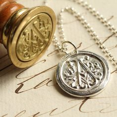 Wax Seal Initial Necklace  Any Letter of the Alphabet  by Englady, $50.00