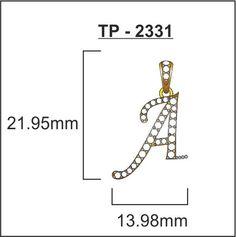 Alphbatetical Diamond Studded Gold Pendant by Uppergirdle TP-2331-A - Online Shopping Marketplace Shopdrill.com
