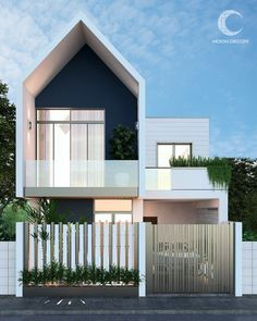 HOuse on Behance House Front Design, Small House Design, Modern House Design, Facade Design, Exterior Design, Small House Exteriors, Small Modern House Exterior, Narrow House Designs, Townhouse Designs