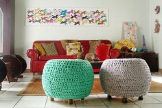 DIY for home: crochet slipcovers for your ottomans on The Four-Eyed Wonder blog.