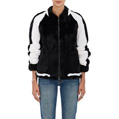 LILLY e VIOLETTA Women's Striped Mink Fur Bomber Jacket ($8,540) ❤ liked on Polyvore featuring outerwear, jackets, black, stripe jacket, bomber style jacket, blouson jacket, mink fur jacket and pocket jacket
