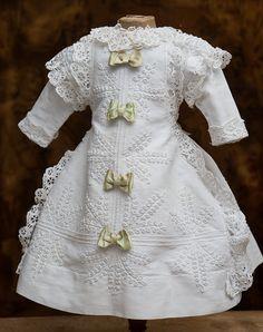 White Cotton Pique Dress with Soutage trim Antique dolls at Respectfulbear.com