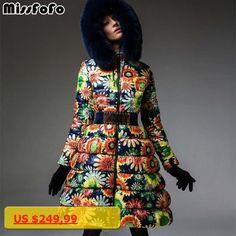 MissFoFo 2017 New Fashion Womens Duck Down sunflower Slim Pocket Zipper Sashes Size S-XL High Quality Very Warm