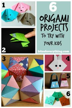 Creative Crafts - 6 Fun Origami Projects to try with your kids! Kids Origami, Useful Origami, Origami Paper, Diy Paper, Paper Crafts, Simple Origami For Kids, Craft Activities For Kids, Projects For Kids, Craft Projects