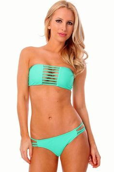 Teal 3 Strap Bandeau Bikini