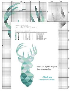 Geometric Wild Deer Cross Stitch pattern Deer Pattern